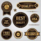 被设置的质量管理标签和徽章 免版税库存照片