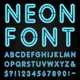 Шрифт вектора алфавита неонового света Стоковые Изображения RF