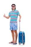 在白色隔绝的旅行的旅游业概念 免版税库存照片