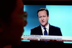 英国竞选电视辩论 免版税库存图片