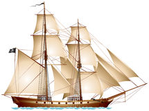 双桅帆船海盗船 免版税库存图片