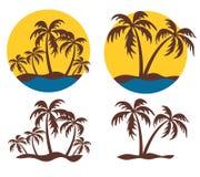 与棕榈树的海岛商标 库存图片