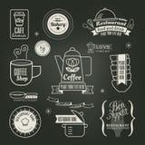 葡萄酒减速火箭的餐馆咖啡馆商标设计 免版税图库摄影
