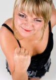 挥动的健康妇女年轻人 免版税库存照片