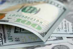 宏观的一百元钞票 免版税库存照片