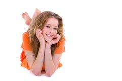 вниз класть девушки подростковый Стоковая Фотография