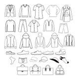 Комплект значков одежд и аксессуаров одежды людей Стоковое Фото
