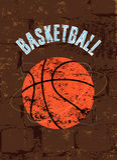 篮球葡萄酒难看的东西样式海报 例证减速火箭的向量 图库摄影