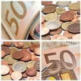 Монетки евро и коллаж банкноты Стоковые Фотографии RF