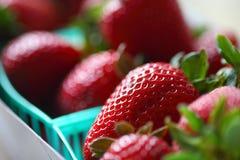 纸盒新鲜的有机草莓 免版税图库摄影