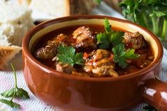 在陶瓷罐的肉炖煮的食物 免版税库存照片