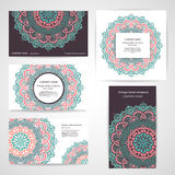 套与花卉印地安装饰品的横幅可以是 免版税库存图片