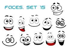 与曲棍球的眼睛的动画片笑的面孔 免版税库存照片