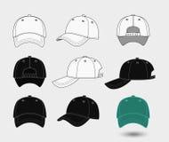 Καπέλο του μπέιζμπολ Πίσω, μπροστινή και πλάγια όψη Στοκ Φωτογραφίες