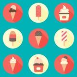 Комплект значка мороженого Стоковые Изображения
