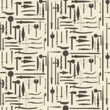 Μεσαιωνικός καθορισμένος άνευ ραφής σκιαγραφιών εικονιδίων εξοπλισμού Στοκ εικόνα με δικαίωμα ελεύθερης χρήσης