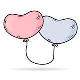 Δένω-επάνω στα μπαλόνια καρδιών Στοκ Εικόνα