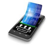 有信用卡的(包括的裁减路线触摸屏幕智能手机) 库存图片