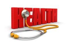 听诊器和健康(包括的裁减路线) 免版税库存照片