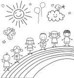 Дети на радуге Стоковые Фото