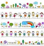 Красочная картина с детьми и милыми элементами природы Стоковое фото RF