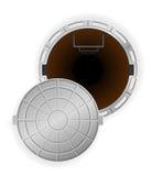 打开与舱口盖传染媒介例证的下水道坑 免版税库存图片