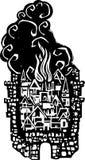 木刻灼烧的城市 库存照片