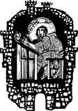 木刻修士在修道院里 免版税库存图片