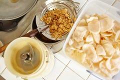 Τηγανισμένο κρεμμύδι αγγελιών κροτίδων γαρίδων Στοκ Εικόνες