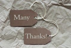 两个布朗标签有许多感谢纸背景 免版税库存照片