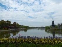 在一个湖附近的风车上海花口岸的 免版税库存照片