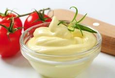 Κύπελλο της σάλτσας σαλάτας μαγιονέζας Στοκ φωτογραφία με δικαίωμα ελεύθερης χρήσης