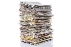 κενό κορυφαίο λευκό στοιβών εγγράφου εφημερίδων Στοκ Εικόνα