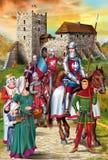 中世纪骑士例证 库存照片