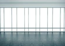 Μεγάλα παράθυρα στο εσωτερικό γραφείων τρισδιάστατη απόδοση Στοκ φωτογραφία με δικαίωμα ελεύθερης χρήσης