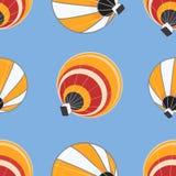 热空气气球的无缝的样式 库存照片