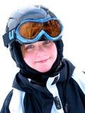 女孩滑雪微笑 图库摄影