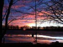 Озеро заход солнца Стоковое фото RF