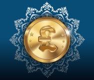 Золотая монетка и предпосылка картины, золотые монетки с фунтом Стоковые Изображения