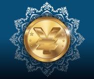 Золотая монетка и предпосылка картины, золотые монетки с иенами Стоковое Фото