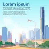 城市街道摩天大楼视图都市风景传染媒介 免版税库存图片
