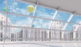 Εικονική παράσταση πόλης με τον παγκόσμιους χάρτη και τα εικονίδια Στοκ φωτογραφία με δικαίωμα ελεύθερης χρήσης