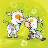 Милая красочная корова на зеленой абстрактной флористической предпосылке Стоковое Изображение