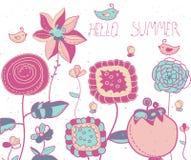 与装饰花的背景和鸟和蜂和字法你好夏天 免版税库存图片