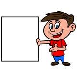有标志的男孩 免版税库存照片