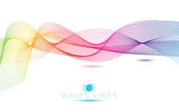 伟大的明亮彩虹波浪五颜六色的梯度光混合的线 免版税图库摄影