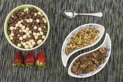 здоровый завтрак, еда диеты хлопьев, плодоовощ и гайки Стоковые Фотографии RF