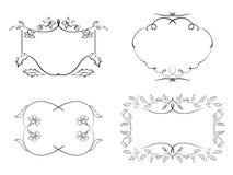 黑装饰框架-花卉集合 免版税库存图片