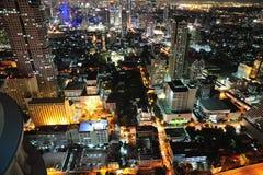 曼谷市夜空泰国视图 免版税库存照片