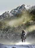 牛仔到多雪的横向里 免版税库存照片